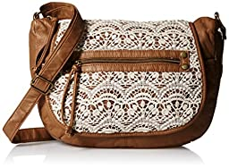T-Shirt & Jeans Crossbody Flap Bag With Crochet, Cognac, One Size