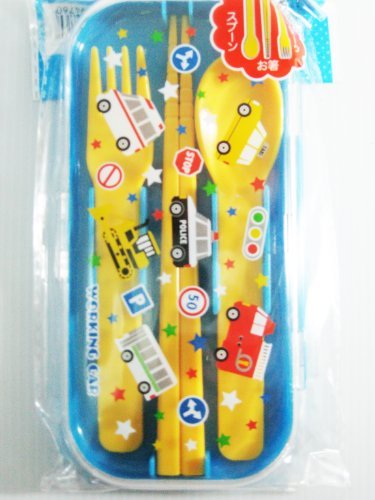 1 X Kid's Fork, Spoon and Chopstick Utensil Set for Bento Lunch Box