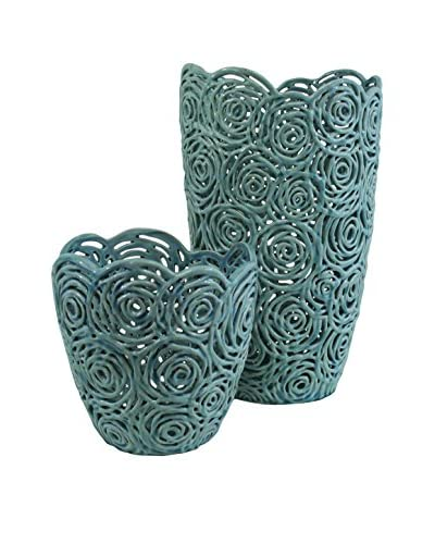 The Import Collection Set of 2 Rosette Vases, Light Blue