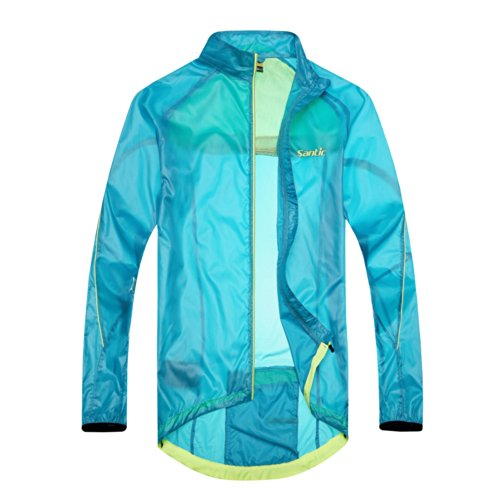 Santic New Design Men'S Biking Super Light Wind Coat Bicycle Waterproof Jacket Full-Zipper Color Blue Size M
