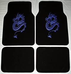 Dragon Blue Front & Rear Carpet Car Truck SUV Floor Mats