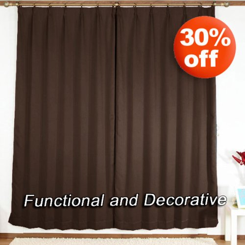 """Pinch Pleated Thermal Insulated Blackout Curtain 84""""L-1Set-CHOCOLATE"""
