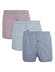 3 Pack Authentic Pure Cotton Gingham Checked Boxers