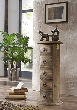 Massiv Holz Kolonialart Möbel Sheesham geölt Kommode oval Palisander grau Massivmöbel grau Robin #18