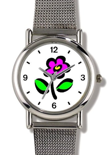 Stylized Red-Purple Pansy (Hot Pink) Flower - WATCHBUDDY® ELITE Chrome-Plated Metal Alloy Watch with Metal Mesh Strap - Small ( Children's Size - Boy's Size & Girl's Size )