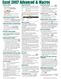 Microsoft Excel 2007 Advanced & Macros Quick Reference Guide (Cheat Sheet of Instructions, Tips & Shortcuts - Laminated Card)