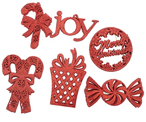 Holiday Ornaments Red Glitter Variety Shaped (Candy Canes,