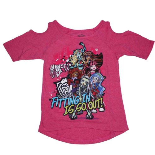 Monster High Girls Fitting in Cut-Out Shoulder Shirt