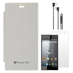 SumacLife Premium Flip Cover Case for Micromax Canvas Xpress A99 (White) + Black Earphones + Matte Screen
