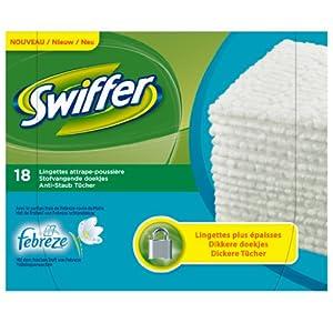 Swiffer Lingettes sèches attrape-poussière x18 - Parfum Fébrèze - Lot de 2