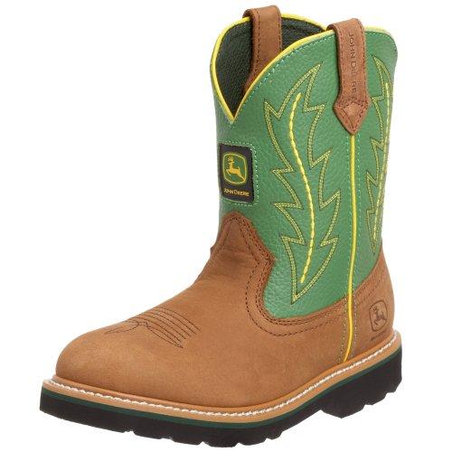 John Deere 3186 Western Boot (Little Kid/Big Kid),Tan/Green,4 M Us Big Kid front-167005