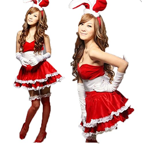 Women's Free Size Christmas Santa Costume Cute Bunny Set