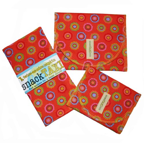 SnackTaxi Reusable Sandwich-sack Bag, Snack-sack Bag and Twice-as-nice Napkin Bloomies Orange Set.