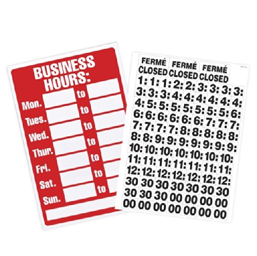 U. S. Stamp & Sign Business Hours Sign with Peel Vinyl Characters, 8 x 12 Inches, Poly Resin (9394 ) image