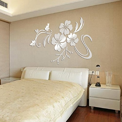 Ikevan 1Set Acrylic Art 3D Mirror Flower Wall Stickers DIY Home Wall Room Decals Decor Sofa TV Setting Wall Removable Wall Stickers 78X60cm (Sliver)