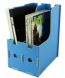 Menu Life Magazine Storage Box Expander File Folder Organiser Magazine File Holder Rack Paper Book Storage Office Desk Organizer (Light Blue)