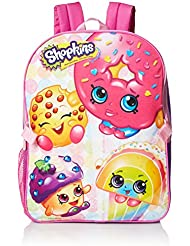 """Shopkins Girl's 16"""" Canvas Pink School Backpack W/Detachable Lunch Bag"""