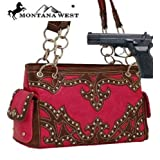 Hot Pink Studded Concealed Handgun Shoulder Bag Purse
