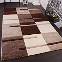 Designer Carpet With Modern Contour Cuts With A Chequered Pattern In Beige And Brown, Size:60x110 cm from PHC