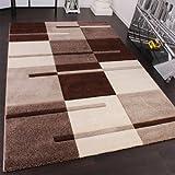 Designer Teppich mit Konturenschnitt Karo Muster Beige Braun, Grösse:160×230 cm