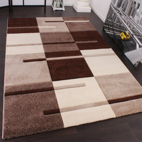 karo-muster-designer-rug-with-contour-cutting-beige-brown-120x170-cm