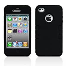 buy Iphone 4S Case, Magicmobile Hybrid Impact Shockproof Cover Hard Armor Shell And Soft Silicone Skin Layer [ Black - Black ] With Screen Protector And Stylus