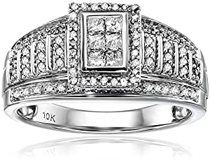 10kt White Gold Round and Princess Cut Diamond Anniversary Ring (1/2 cttw, H-I Color, I1-I2 Clarity), Size 7 by Amazon Collection