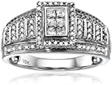 10kt White Gold Round and Princess Cut Diamond Anniversary Ring (1/2 cttw, H-I Color, I1-I2 Clarity), Size 7