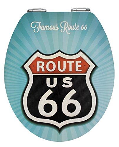 Wenko, Sedile copri-WC con chiusura ammortizzata, motivo: Route 66, Multicolore (Bunt)