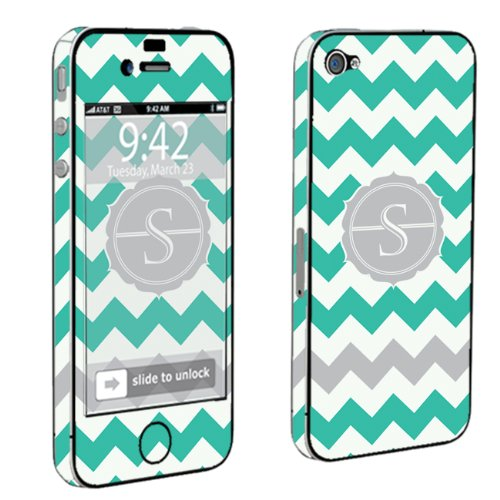 Skinguardz Full Body Vinyl Decal Sticker Skin For Apple Iphone 4 Or 4S - Mint Chevron Monogram Initial S front-772732