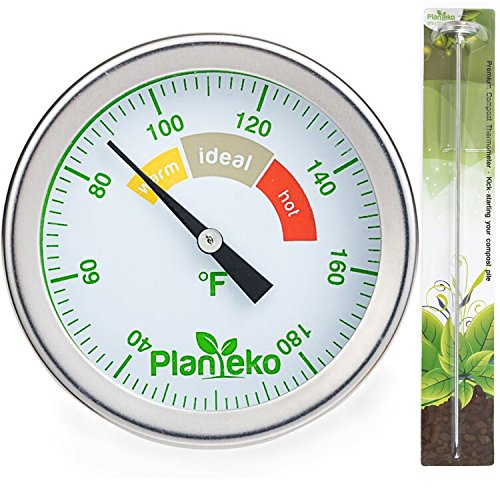 Compost Thermometer - Premium High Quality Stainless Steel Soil Thermometer Extra Thick Probe - Color Coded Fahrenheit Dial - Extra Long 20 Inch Stem - Ideal for Backyard Composting