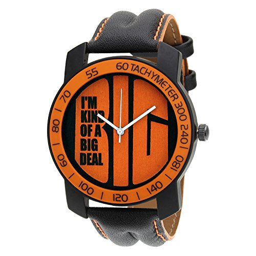 Relish-569 Stylish Orange & Black Case Analog Watches For Mens & Boys