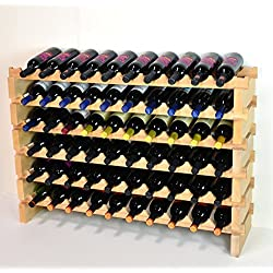 Modular Wine Rack Beechwood 40-120 Bottle Capacity 10 Bottles Across up to 12 Rows Newest Improved Model (60 Bottles - 6 Rows)