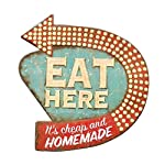 "16"" Vintage Distressed Eat Here Faux Neon Light Retro Kitchen Wall Plaque Sign"