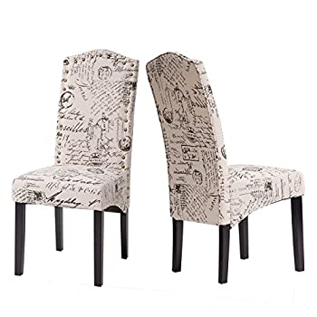 Merax Fabric Dining Chairs Script Fabric Accent Chair with Solid Wood Legs, Set of 2 (Beige&Script)