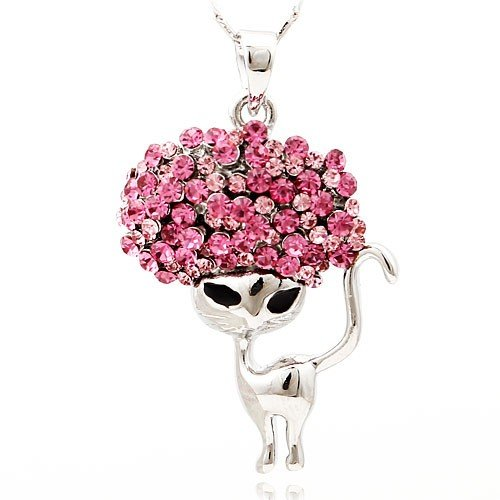 2013 New Pink Swarovski Element Crystal Cat Design Necklace for Women Gift