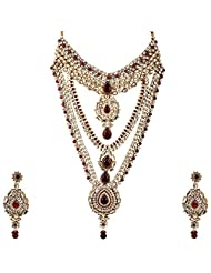 Lucky Jewellery Maroon Gold Plated Kundan Set For Women