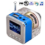 KRS - T28 - Blue - Mini Soundbox music cube cuboid Sound Music Angel with radio receiver plays MP3 Player Micro SD TF and USB Stick man from mini Speaker Speaker AUX Auvisi