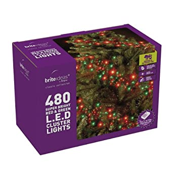 Brite Ideas Festive 480 Multiaction Cluster LED Lights, Red/Green