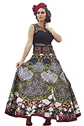 Black Banglori Printed Semi-stitched Gown