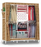 Esy-Life Wide Double Door Storage Closet with Big Outer Pockets, 67 Inch Height Oxford Fabric Wardrobe Closet for Bedroom, Sunflower, Coffee (50x17.7x67 Inches)