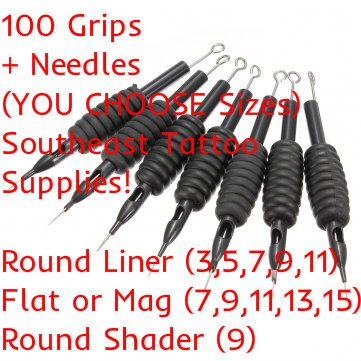 100pcs Disposable Tattoo Needle and Tube 3/4 Grip RL/RS/M1