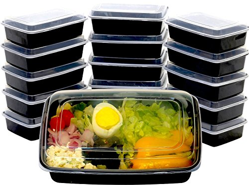 16 Pack - SimpleHouseware 1 Compartment Reusable Stackable Meal Prep Containers Dishwasher, Freezer, Microwave Food Safe, 28 Ounces (Microwave Freezer Containers compare prices)