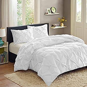 Sweet Home Collection 3 Piece PP Luxury Pinch Pleat Pintuck Fashion Duvet Set, Queen, White