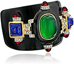 Kenneth Jay Lane Black Enamel and Multi Gem Cuff Bracelet