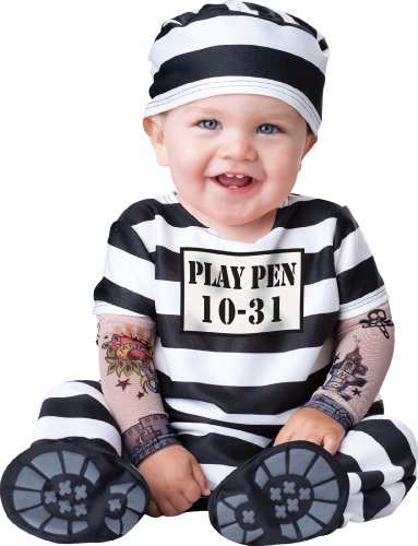 InCharacter Costumes Baby's Time Out Convict Costume, Black/White, Large