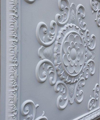 PL08 en similicuir style Victoria Carreau de plafond Blanc mat pour décoration en relief photosgraphie Panneaux de fond muraux 10pieces/lot