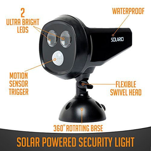 Solar Powered Security Spotlights- Set of 1- Motion Activated Lights- Wireless Outdoor Light- 300 Lumen Ultra Bright LEDs- 2 Lighting Modes- Best for Patio, Garden, Path, Pool, Yard, Deck (Black) (1)