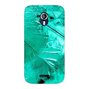 Cyan Feather Back Case Cover for Micromax Canvas Magnus A117