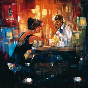Bar Scene I HIGH QUALITY CANVAS Print With Light Added BRUSHSTROKES Magjid 28x28